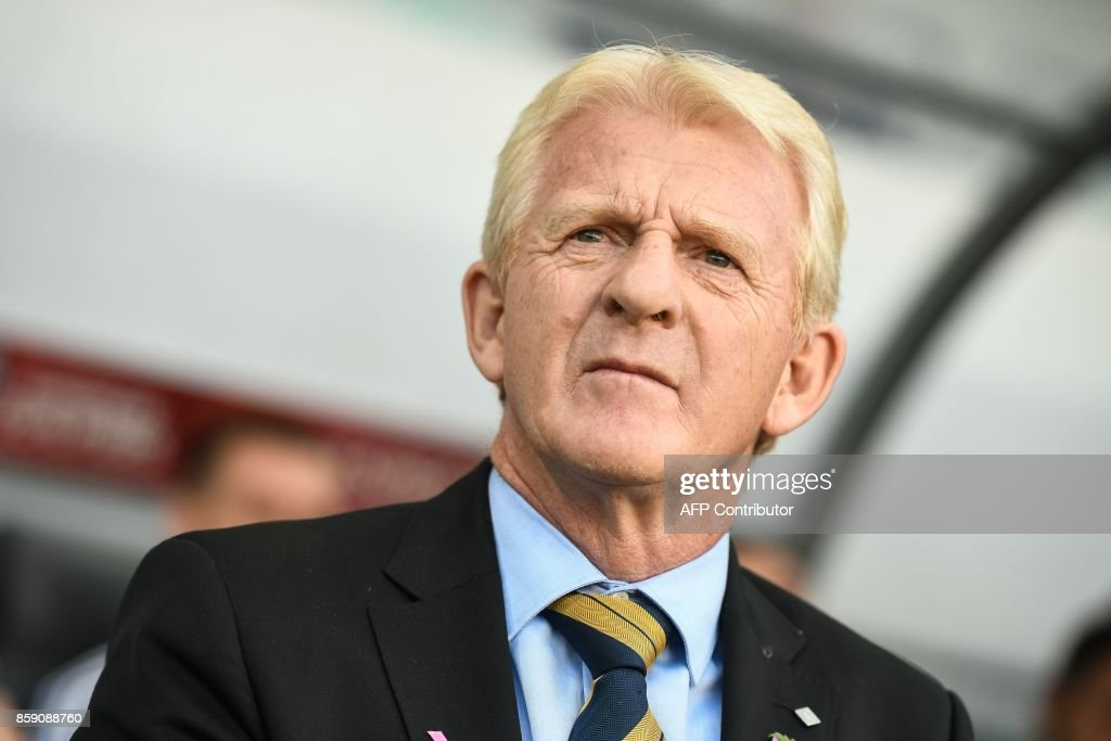 Scotland's head coach Gordon Strachan looks on prior to the FIFA World Cup 2018 qualifier football match between Slovenia and Scotland at the Stozice stadium in Ljubljana, on October 8, 2017. / AFP PHOTO / Jure Makovec