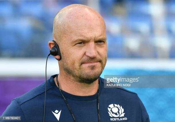 Scotland's head coach Gregor Townsend takes part a training session at International Stadium Yokohama in Kanagawa Prefecture on September 20 ahead of...