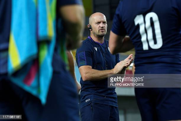 Scotland's head coach Gregor Townsend takes part in a captain's run training session at the Misaki Rugby Stadium in Kobe on September 29 on the eve...