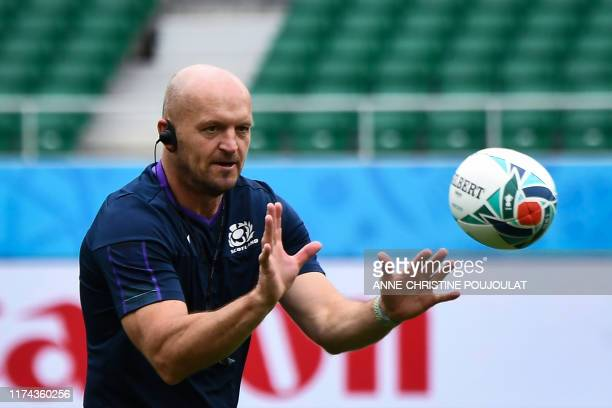 Scotland's head coach Gregor Townsend takes part in a Captain's run training session at the Sizuoka stadium Ecopa in Shizuoka on October 8 during the...