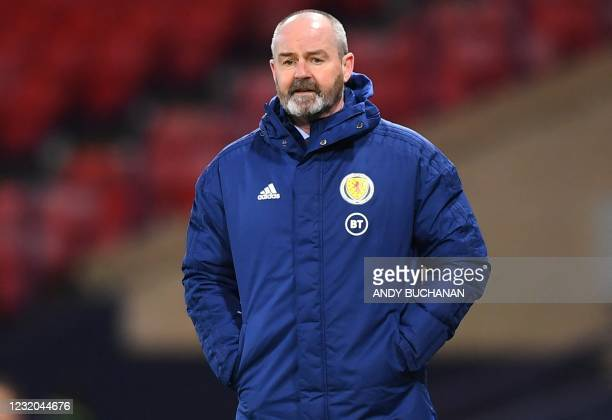 Scotland's head coach Steve Clarke watches his players from the touchline during the FIFA World Cup Qatar 2022 Group F qualification football match...