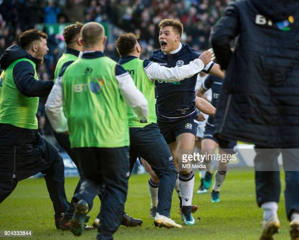 Scotland's Huw Jones celebrates scoring his side's 3rd try during the 6 Nations clash between Scotland and England at BT Murrayfield on February 24...