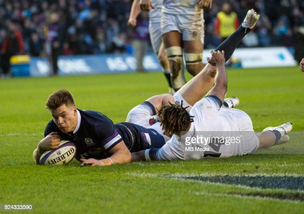Scotland's Sean Maitland dives over the line to score his side's 2nd try at BT Murrayfield on February 24 2018 in Edinburgh Scotland