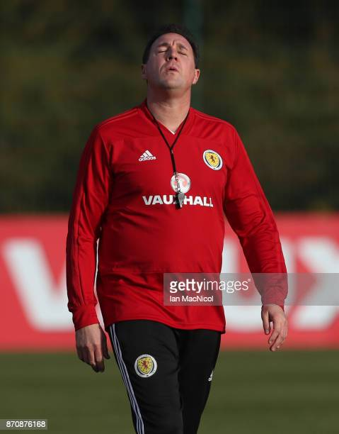 Scotland's interim manager Malky MacKay is seen during a training session at Orium sporting centre of excellence on November 6, 2017 in Edinburgh,...
