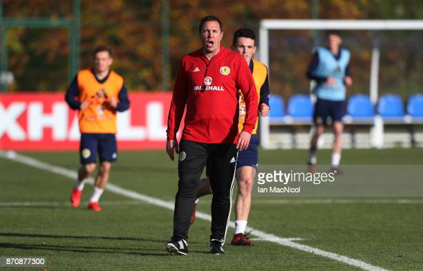 Scotland's interim manager Malky MacKay is seen during a training session at Orium sporting centre of excellence on November 6 2017 in Edinburgh...