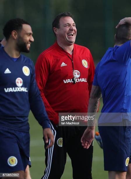 Scotland's interim manager Malky McKay is seen during a training session at Orium sporting centre of excellence on November 6, 2017 in Edinburgh,...