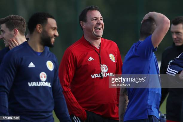 Scotland's interim manager Malky McKay is seen during a training session at Orium sporting centre of excellence on November 6 2017 in Edinburgh...