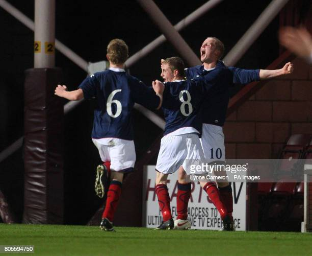 Scotland's Jack Grimmer celebrates scoring the opening goal during the Victory Shield match at Tynecastle Stadium Edinburgh