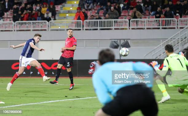 Scotland's James Forrest scores his side's fourth goal of the game during the UEFA Nations League Group C1 match at the Loro Borici Stadium Shkoder