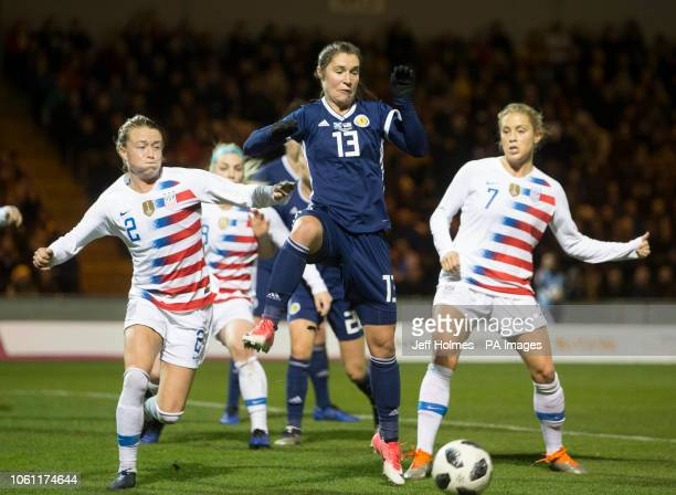 ScotlandÕs Jane Ross has a shot on goal past USA's Emily Sonnett and Abby Dahlkemper during the International Friendly match at the Simple Digital...