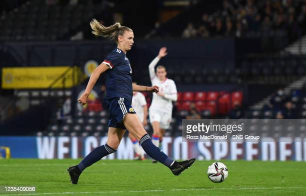 Scotland's Jenna Clark scores to make it 6-1 during a FIFA World Cup Qualifier between Scotland and Faroe Islands at Hampden Park on September 21 in...