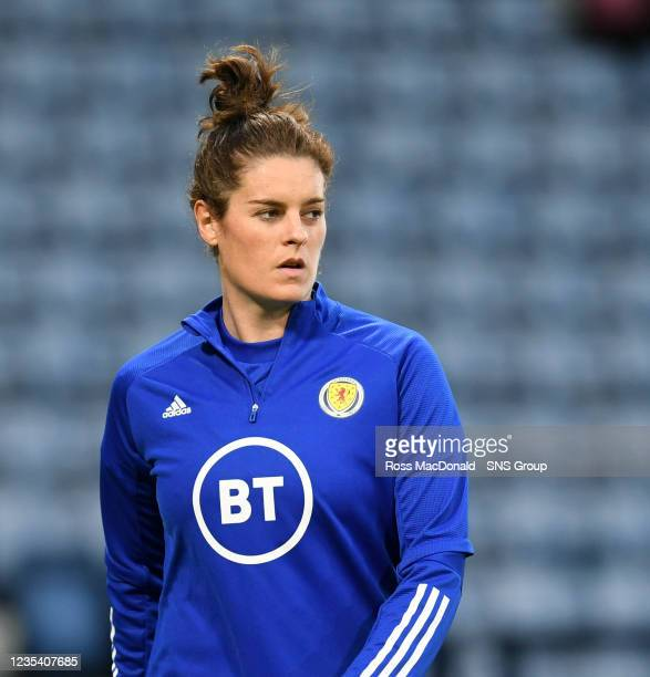 Scotland's Jennifer Beattie ahead of kick off during a FIFA World Cup Qualifier between Scotland and Faroe Islands at Hampden Park on September 21 in...