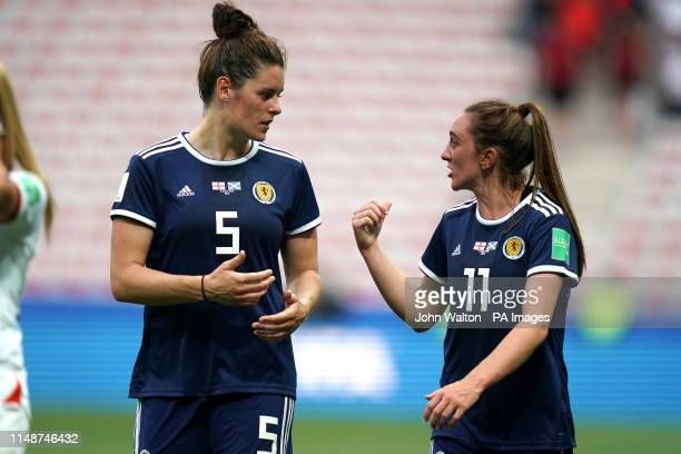 Scotland's Jenny Beattie and Lisa Evans after the final whistle during the FIFA Women's World Cup Group D match at the Stade de Nice
