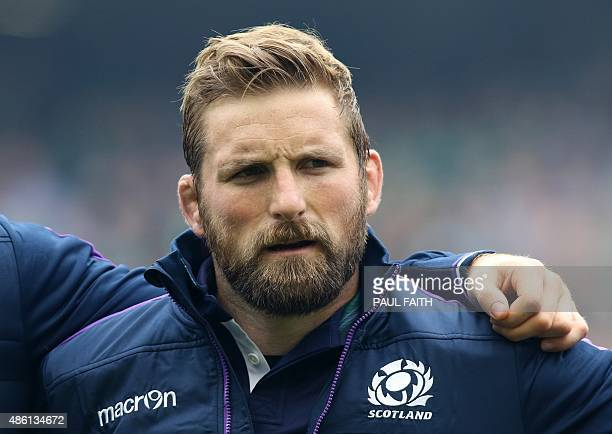 Scotland's John Barclay lines up ahead of the 2015 Rugby World Cup warm up match between and Ireland and Scotland at Aviva Stadium in Dublin Ireland...