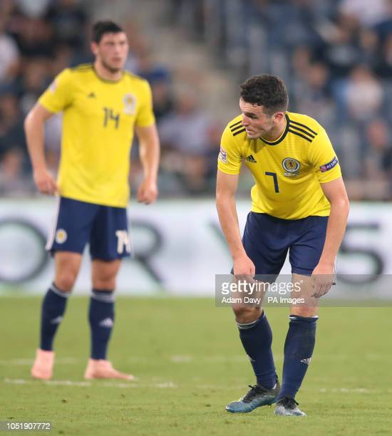 Scotland's John McGinn appears dejected during the UEFA Nations League Group C1 match at the Sammy Ofer Stadium, Haifa.