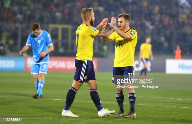 Scotland's Johnny Russell celebrates scoring his side's second goal of the game with Ryan Fraser during the UEFA Euro 2020 Qualifying Group I match...