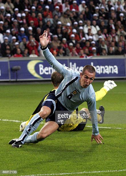 Scotland's Kenny Miller signals his first goal giving Scotland a 10 lead in the first half of a World Cup qualifying match at Ullevaal Stadium in...