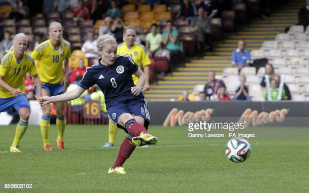 Scotland's Kim Little scores a goal from the spot during the FIFA Women's World Cup qualifying match at Fir Park Motherwell