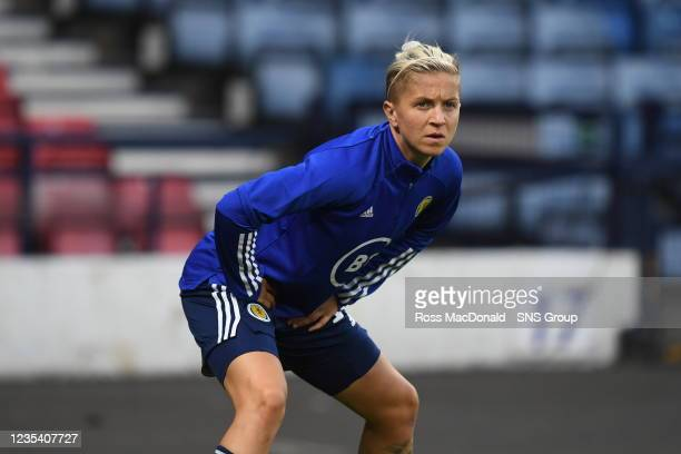 Scotland's Lana Clelland ahead of kick off during a FIFA World Cup Qualifier between Scotland and Faroe Islands at Hampden Park on September 21 in...