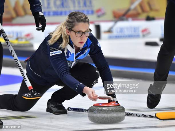 Scotland's Lauren Gray is in action during the Women's semifinal between Scotland and Switzerland at the European Curling Championships in...