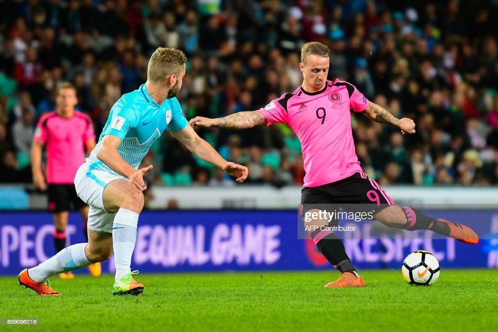 Scotland's Leigh Griffiths (R) vies with Nejc Skubic of Slovenia during the FIFA World Cup 2018 qualification football match between Slovenia and Scotland at the Stadium Stozice in Ljubljana, Slovenia on October 8, 2017. / AFP PHOTO / Jure Makovec