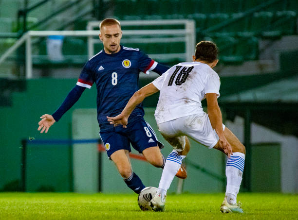Scotland's Lewis Fiorini takes on Greece's Giannis Papanikolaou during the UEFA Under-21 Championship match between Greece and Scotland at the...