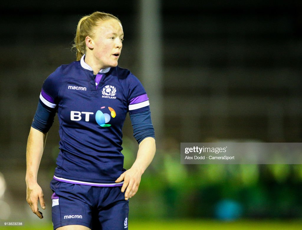Scotland's Liz Musgrove during the Women's Six Nations Championships Round 1 match between Wales Women and Scotland Women at Eirias Stadium on February 2, 2018 in Colwyn Bay, Wales.