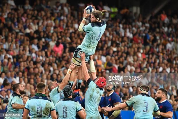 Scotland's lock Ben Toolis catches the ball in a line out during the 2019 Rugby World Cup warmup test match between France and Scotland at the...