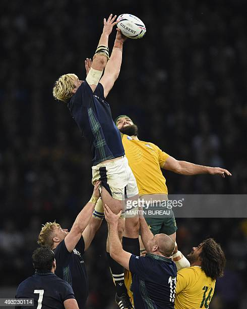 Scotland's lock Richie Gray catches the ball in a line out against Australia's flanker Scott Fardy during a quarter final match of the 2015 Rugby...