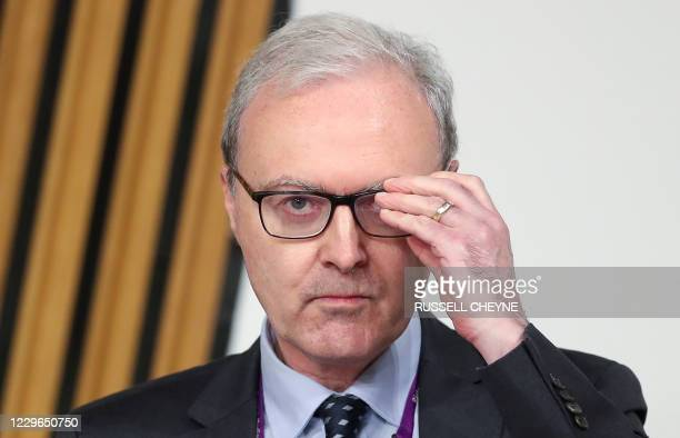 Scotland's Lord Advocate James Wolffe gives evidence to a Scottish Parliament committee at Holyrood in Edinburgh on November 17 examining the...