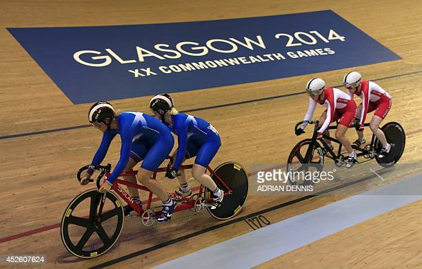 Scotland's Louise Haston and Aileen McGlynn compete against England's Sophie Thornhill and Helen Scott in the women's sprint B2 tandem final race 1...