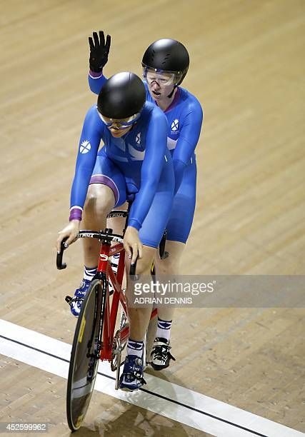 Scotland's Louise Haston and Aileen McGlynn compete in the women's parasport sprint B tandem qualifying round in the Sir Chris Hoy Velodrome during...