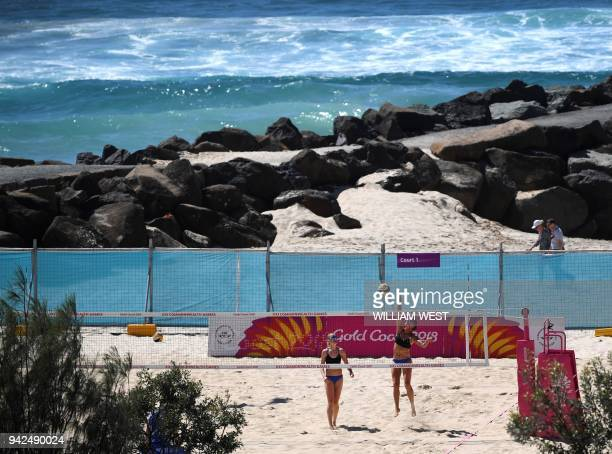 Scotland's Lynne Beattie and Melissa Coutts practice ahead of their preliminary women's beach volleyball match against Grenada at the 2018 Gold Coast...