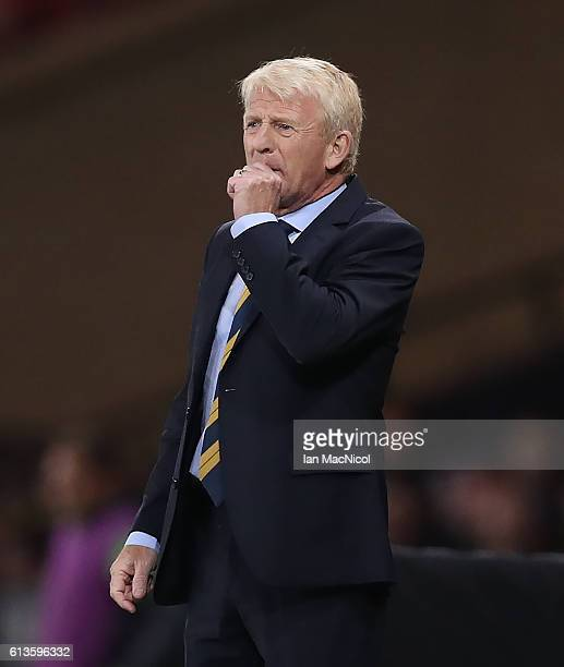 Scotlands manager Gordon Strachan is seen during the FIFA 2018 World Cup Qualifier between Scotland and Lithuania at Hampden Park on October 8 2016...