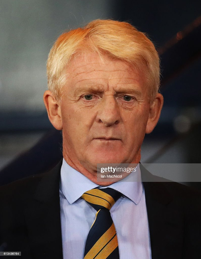 Scotlands manager Gordon Strachan looks on during the FIFA 2018 World Cup Qualifier between Scotland and Lithuania at Hampden Park on October 8, 2016 in Glasgow, Scotland.