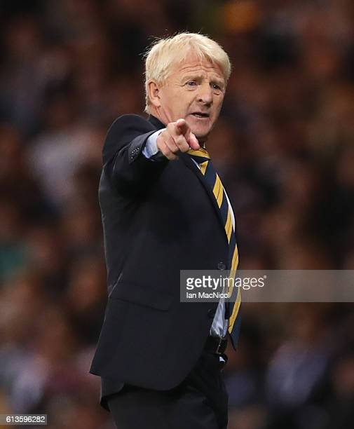 Scotlands manager Gordon Strachan reacts during the FIFA 2018 World Cup Qualifier between Scotland and Lithuania at Hampden Park on October 8 2016 in...