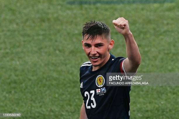 Scotland's midfielder Billy Gilmour - star of the match - reacts after the UEFA EURO 2020 Group D football match between England and Scotland at...