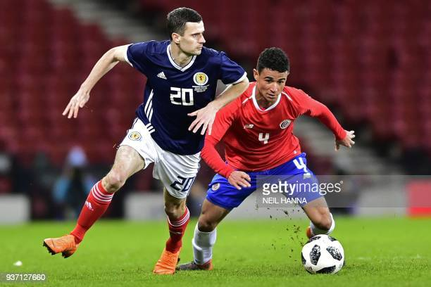 Scotland's midfielder Jamie Murphy vies with Costa Rica's defender Ian Smith during the International friendly football match between Scotland and...