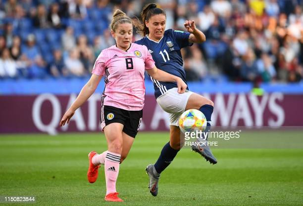 Scotland's midfielder Kim Little vies with Argentina's forward Florencia Bonsegundo during the France 2019 Women's World Cup Group D football match...