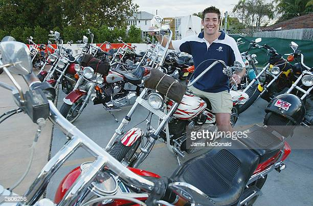 Scotlands Nathan Hines on a Bandidos bike at the Ridges Hotel on October 17, 2003 in Caloundra, Australia.