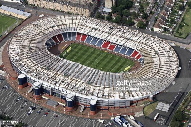 Scotland's national stadium and home to Scottish club side Queen's Park Hampden Park dwarfs the neighbouring housing in this aerial photo taken on...