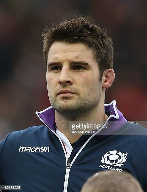 Scotland's number 8 Johnnie Beattie lines up ahead of the Six Nations international rugby union match between Scotland and Italy at Murrayfield in...