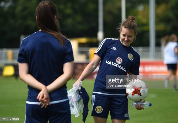 Scotland's player Frankie Brown attends a training session in Woudenberg on July 21 during the UEFA Women's Euro 2017 football tournament Having left...