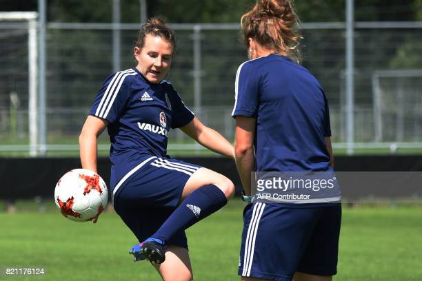Scotland's player Frankie Brown kicks the ball during a training session in Woudenberg on July 21 during the UEFA Women's Euro 2017 football...
