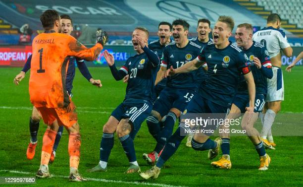 Scotland's players celebrate after David Marshall saves Aleksandar Mitrovi's penalty during the UEFA Euro 2020 Qualifier between Serbia and Scotland...