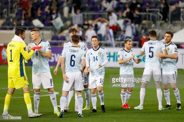 Scotland's players prepare for the start of the 2022 FIFA World Cup qualifier group F football match between Israel and Scotland at Bloomfield...