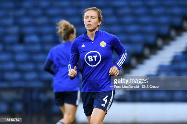 Scotland's Rachel Corsie ahead of kick off during a FIFA World Cup Qualifier between Scotland and Faroe Islands at Hampden Park on September 21 in...