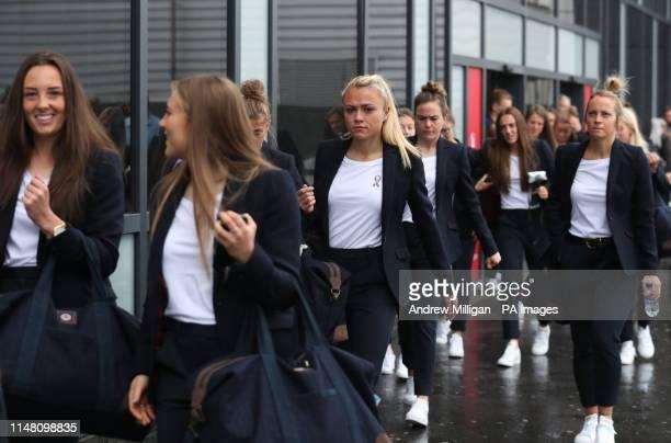 Scotland's Rachel Corsie arrives at Edinburgh Airport as the Scotland Women's team depart for the Women's World Cup in France