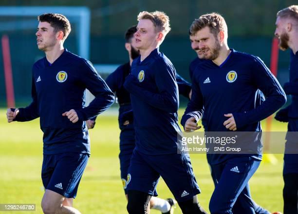 Scotland's Ryan Christie , Gary-Mackay Stevens and Stuart Armstrong .