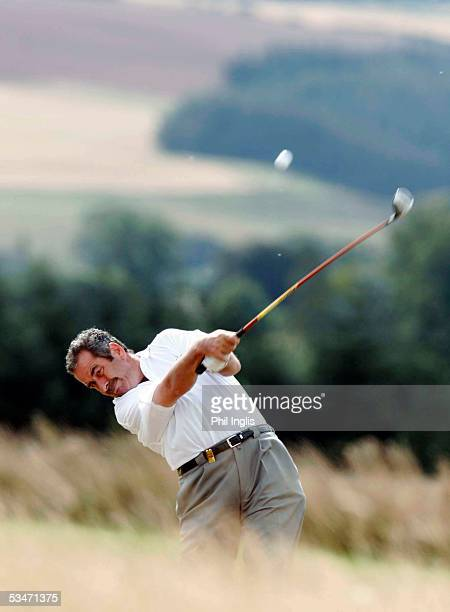 Scotland's Sam Torrance plays his second shot to the 7th hole during the second round of the Charles Church Scottish Seniors Open at The Roxburghe on...